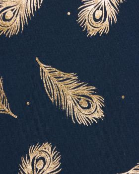 Peacock feather gold jersey Navy Blue - Tissushop