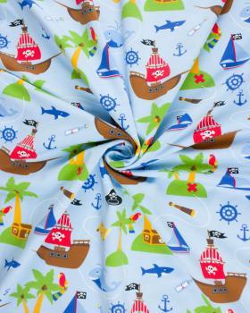 Pirate ship printed jersey Light Blue - Tissushop