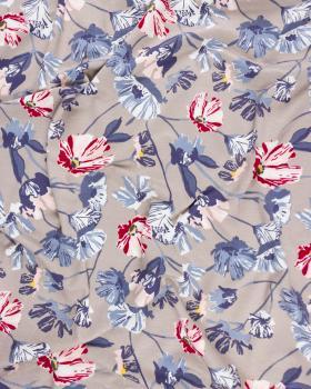 Jersey fleurs de coquelicot Beige - Tissushop