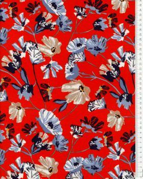 Jersey fleurs de coquelicot Vermillon - Tissushop