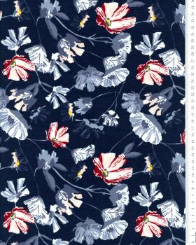 Jersey fleurs de coquelicot Bleu Marine - Tissushop