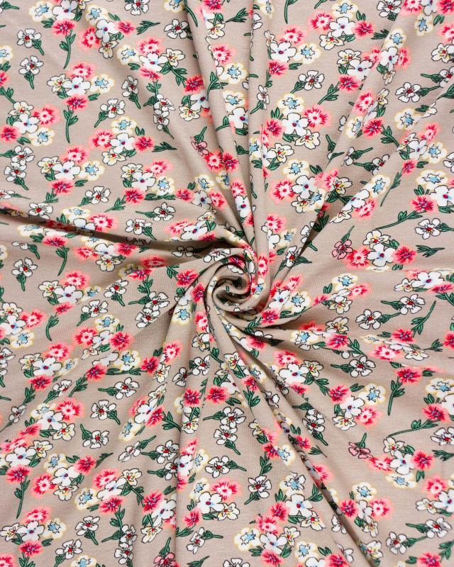 Jersey fleuri Beige - Tissushop