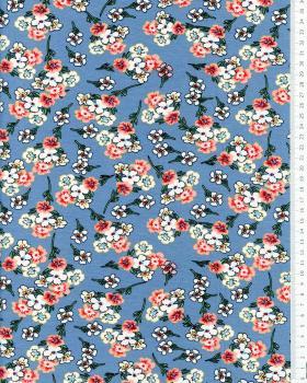 Flowery jersey Blue - Tissushop