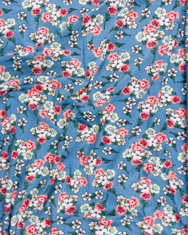 Jersey fleuri Bleu - Tissushop