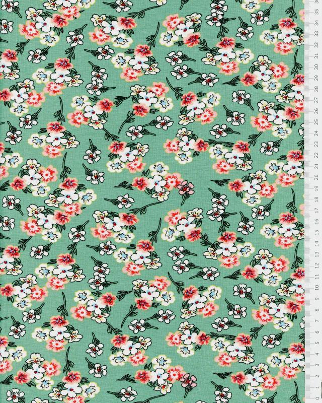 Flowery jersey Eucalyptus Green - Tissushop