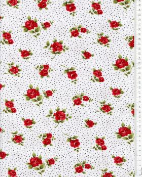 Jersey flowers and dots White - Tissushop