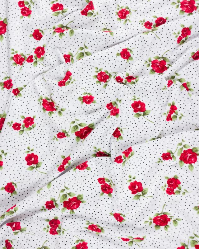 Jersey fleurs et pois Blanc - Tissushop