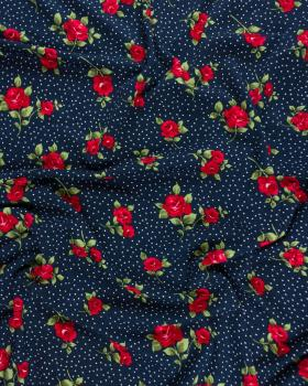 Jersey flowers and dots Navy Blue - Tissushop