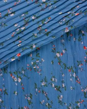 Small flowers printed pleated fabric Blue - Tissushop