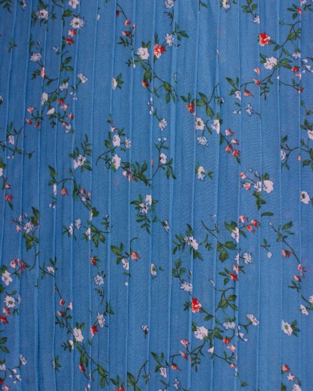 Plissé petites fleurs Bleu - Tissushop