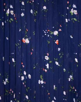 Plissé petites fleurs Bleu Marine - Tissushop