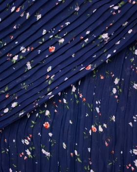 Small flowers printed pleated fabric Navy Blue - Tissushop