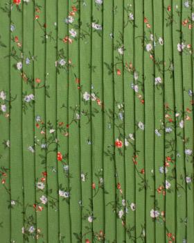 Small flowers printed pleated fabric Green - Tissushop