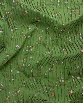 Plissé petites fleurs Vert - Tissushop