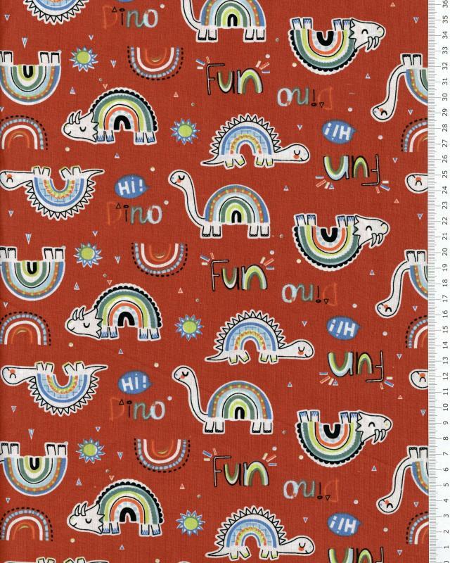 Dino Cotton Popelin Red - Tissushop