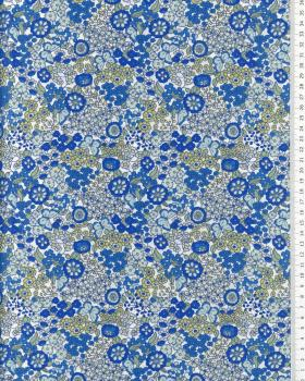 Cotton Flowers and butterfly pattern Blue - Tissushop
