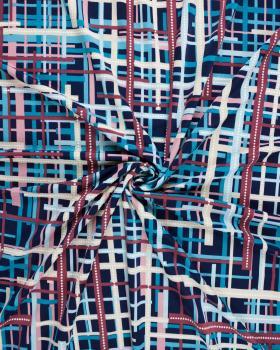 Jersey stretch carreaux et pointillés sur fond Bleu Marine - Tissushop
