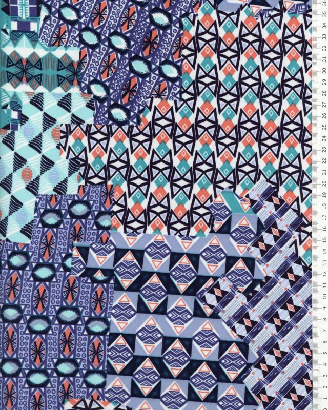 Stretch jersey with ethnic motifs Blue - Tissushop