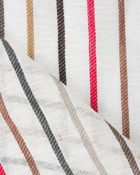 Striped linen voile Off White - Tissushop