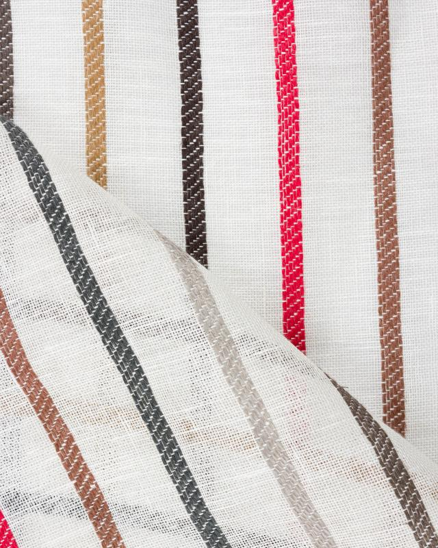 Voile de lin à rayures Blanc Cassé - Tissushop