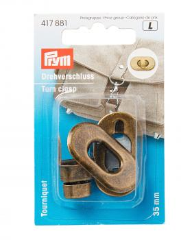 Rounded turn clasp 35 mm Prym Old Gold - Tissushop