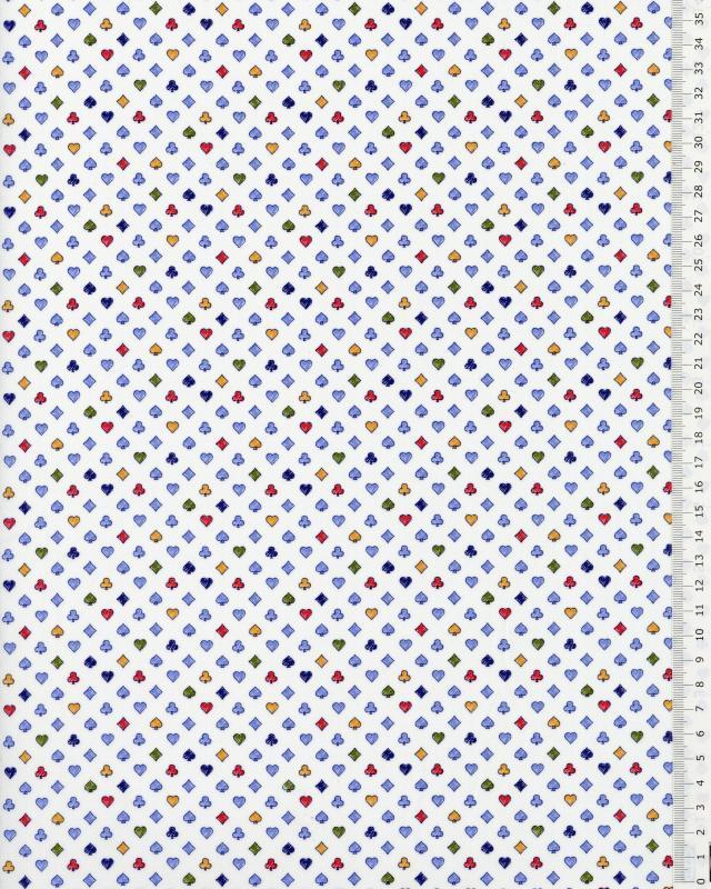 Popeline de coton jeu de cartes Blanc - Tissushop