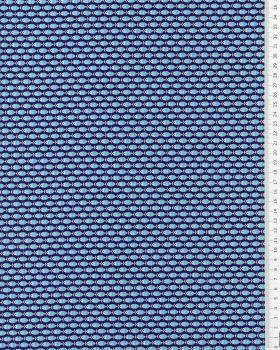 Cotton poplin small fish Navy Blue - Tissushop