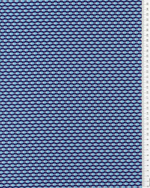 Popeline de coton petits poissons Bleu Marine - Tissushop
