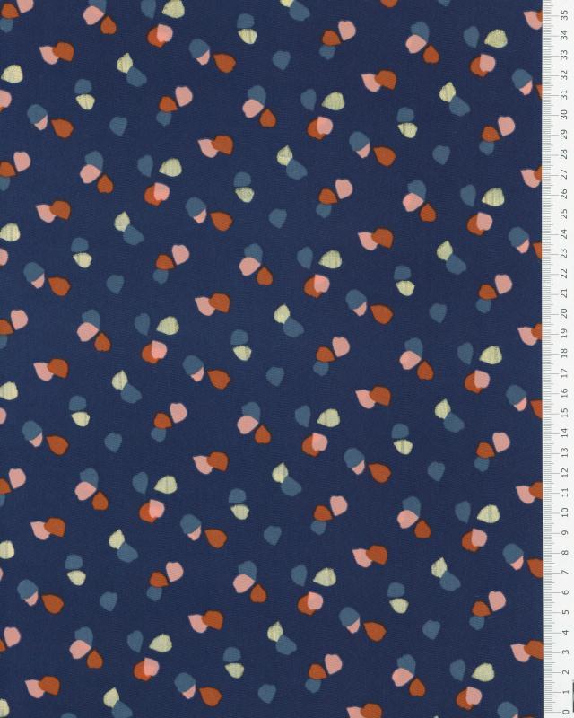 Satin mat confettis sur fond Bleu Marine - Tissushop
