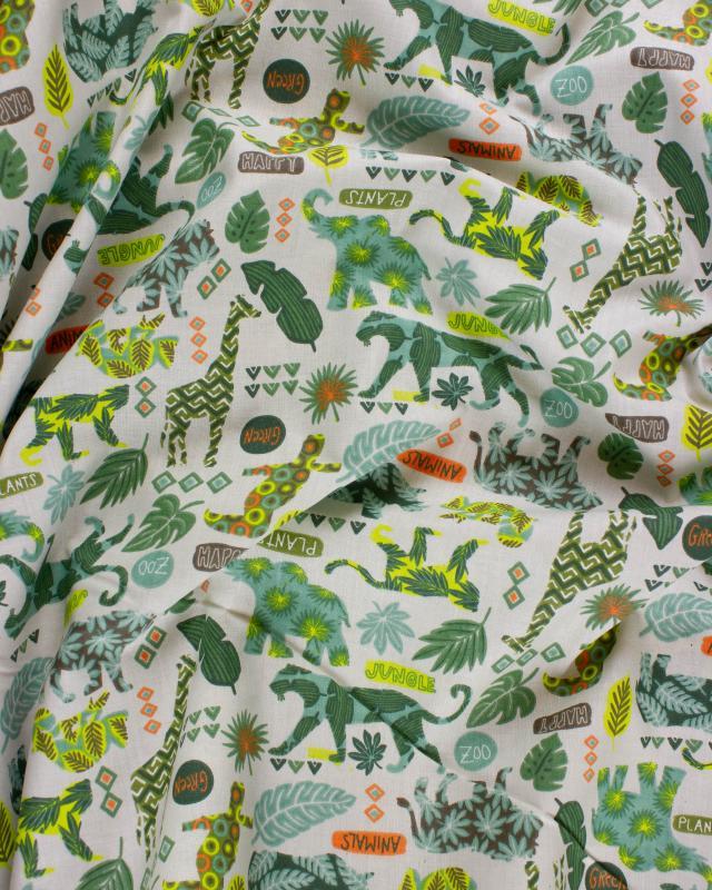 Jungle cotton poplin Khaki - Tissushop