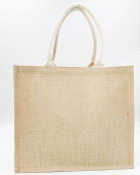 Small Jute Canvas Shopping Bag with white handles Natural - Tissushop