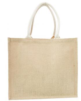 Petit Sac Shopping Bag en Toile de Jute anses blanches Naturel - Tissushop
