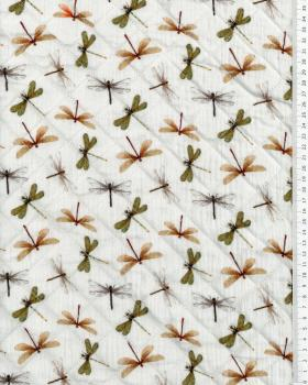 Double gaze matelassée libellule digitale - Tissushop