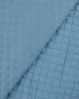 Double gaze matelassée unie Bleu Jeans - Tissushop