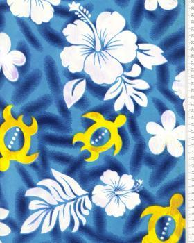 Tissu Polynésien HONU Bleu Turquoise - Tissushop