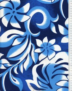 Tissu Polynésien ORANA Bleu - Tissushop