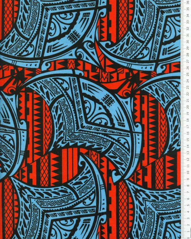 Tissu Polynésien ITOITO Bleu - Tissushop