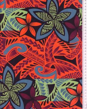 Tissu Polynésien HOARAA Orange - Tissushop