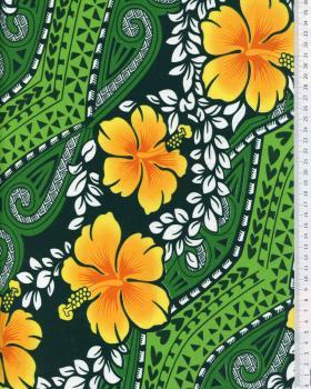 Tissu Polynésien MIAMO Vert - Tissushop