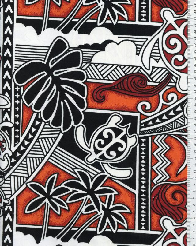 Tissu Polynésien HIRO Rouge - Tissushop