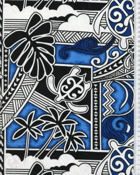 Polynesian Fabric HIRO Blue - Tissushop