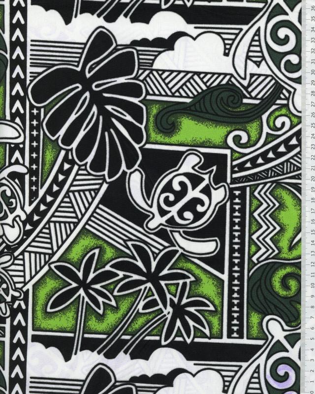 Polynesian Fabric HIRO Green - Tissushop