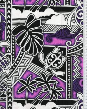 Tissu Polynésien HIRO Violet - Tissushop