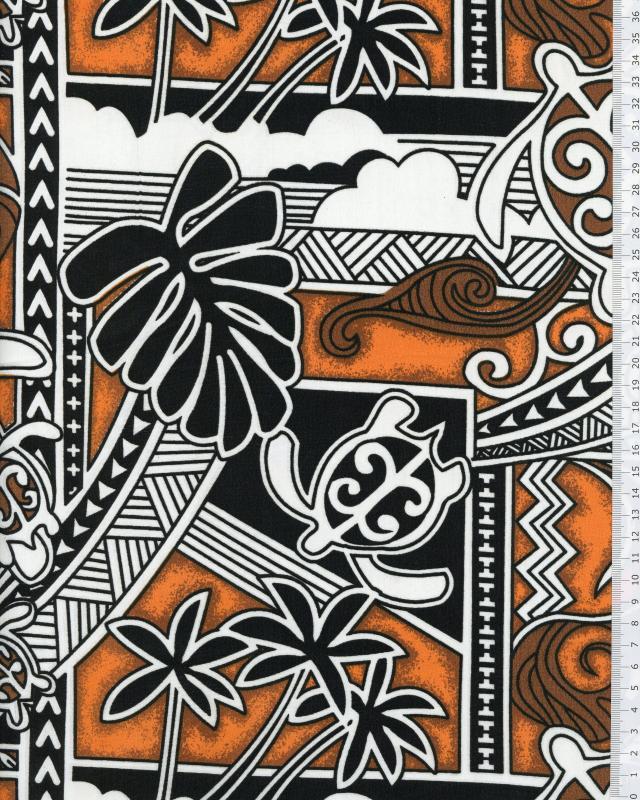Tissu Polynésien HIRO Orange - Tissushop