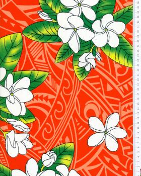 Tissu Polynésien MANA Rouge - Tissushop