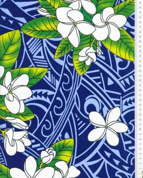 Tissu Polynésien MANA Bleu - Tissushop