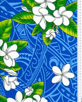 Tissu Polynésien MANA Bleu Turquoise - Tissushop