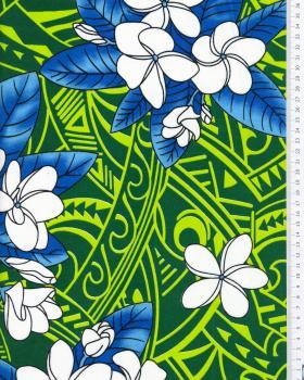 Tissu Polynésien MANA Vert - Tissushop