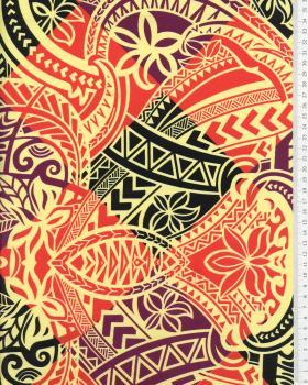 Tissu Polynésien NAPU Rouge - Tissushop