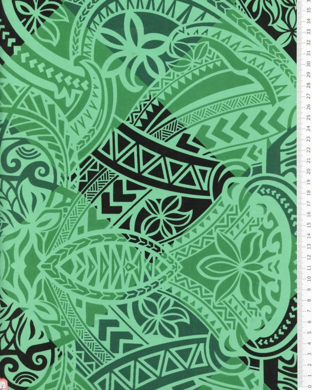 Tissu Polynésien NAPU Vert - Tissushop